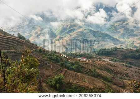 A typical landscape on the way to Ta Van village at the morning in a wet season, near Sa Pa,  Lao Cai Province, Northern Vietnam