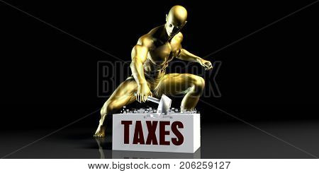 Eliminating Stopping or Reducing Taxes as a Concept 3D Illustration Render