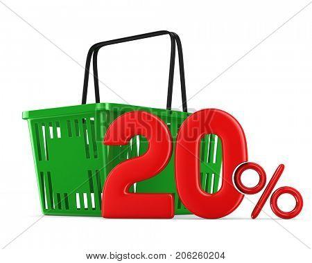 Green empty shopping basket and twenty percent on white background. Isolated 3d illustration