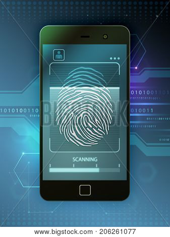 Smartphone with biometric access features. 3D illustration.