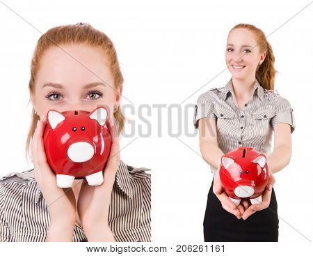 Redhead with piggybank isolated on the white