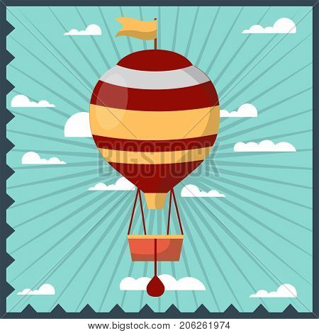 Airballoon isolated in sky colorful card with frame