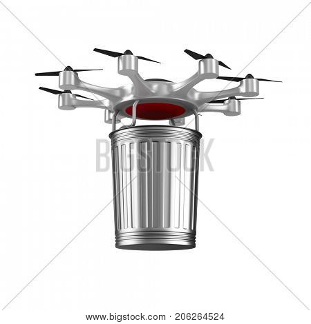 octocopter and garbage basket on white background. Isolated 3D illustration