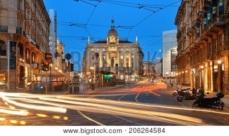 MILAN - MAY 24: street view at night on May 24, 2016 in Milan, Italy. Milan is the second most populous in Italy and the main industrial and financial center.