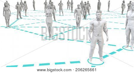 Well Coordinated or Managed Team Working Together 3D Illustration Render