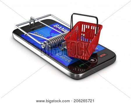 phone in mousetrap. Isolated 3D illustration