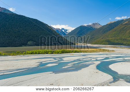 Mountain stream of Bealey River in Arthur Pass, South Island of New Zealand