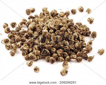Dragon beans jasmine tea isolated on white