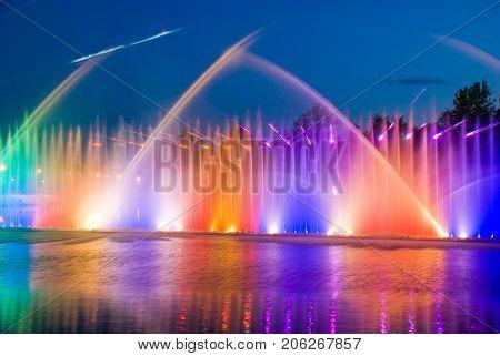 Vinnitsa,Ukraine, MAY  27, 2012: Colorful and musical fountain in Vinnitsa