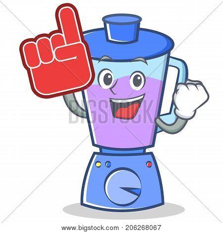Foam finger blender character cartoon style vector illustration