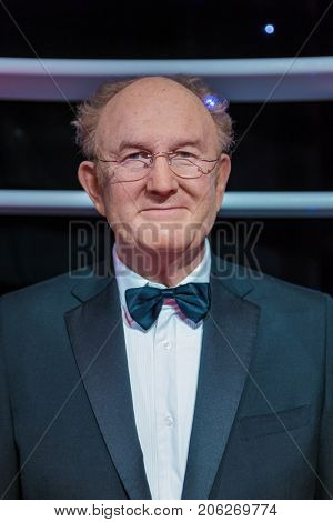 AMSTERDAM, NETHERLANDS - APRIL 25, 2017: Gene Hackman wax statue in Madame Tussauds museum on April 25, 2017 in Amsterdam Netherlands.