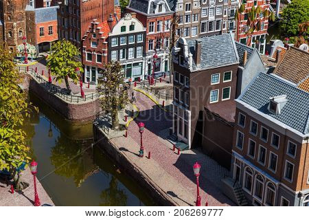 The Hague, Netherlands - April 26, 2017: Amsterdam in Madurodam miniature park in The Hague.