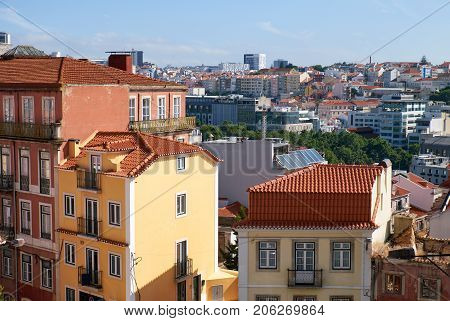 The residential houses in the Bairro Alto - central district of Lisbon. Portugal