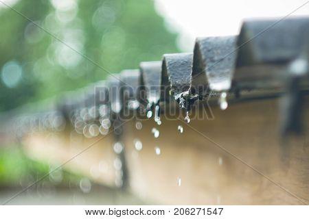 rain flows down from a roof bokeh form rain.