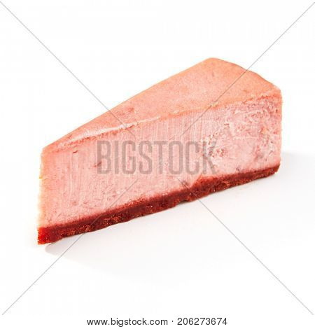 Piece of tasty strawberry cheesecake on white isolated background