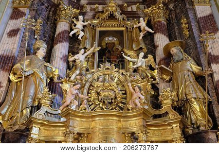 LEPOGLAVA, CROATIA - OCTOBER 08: Main altar in the church of Immaculate Conception in Lepoglava, Croatia on October 08, 2016.