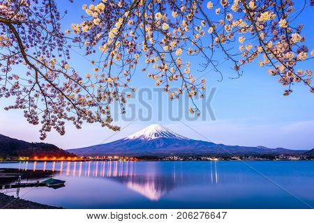 Mt. Fuji on Lake Kawaguchi, Japan during spring season.