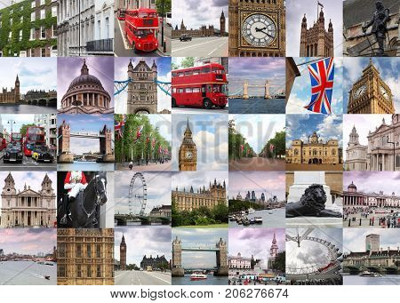 Collage with London views - Tower Bridge, Big Ben, Westminster Palace, Double bus, Statue of Oliver Cromwell
