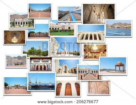 Collage with Oman photos - Sultan palace, Grand Mosque, Qaboss port