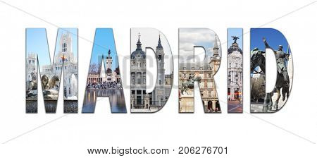 Collage with Madrid letters with views - Plaza Mayor, Cibeles Fountain, Retiro Park, Cathedral of Nuestra Senora de la Almudena