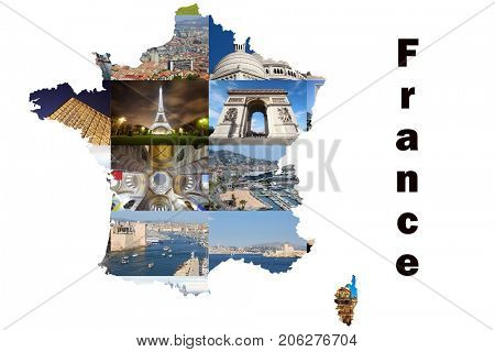Collage with map with Paris and Marseilles views - Eiffel Tower, Arc de Triomphe, sea shore