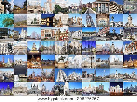 Collage with Madrid views - Plaza Mayor, Cibeles Fountain, Retiro Park, Cathedral of Nuestra Senora de la Almudena, monument to Don Quixote and Sancho Panza