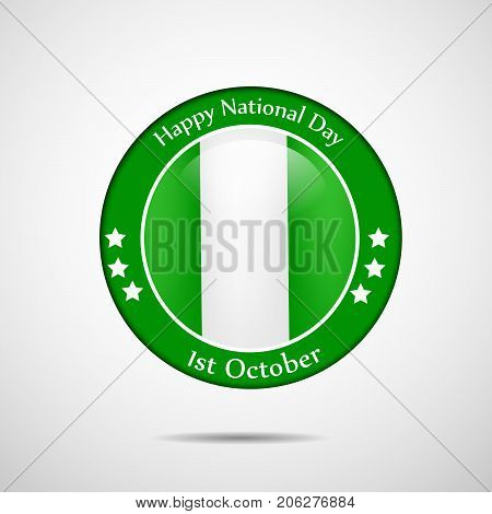 illustration of stamp in Nigeria flag background with Happy National Day text on the occasion of Nigeria National Day