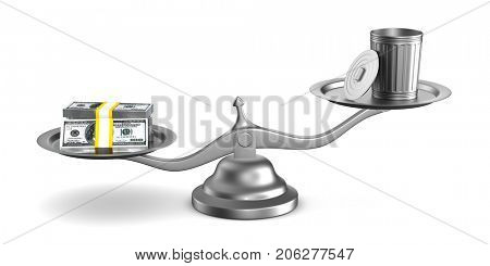 Garbage basket and money on scale. Isolated 3D illustration
