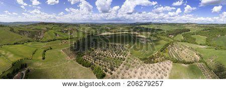 Tuscany aerial panorama farmland hill country landscape. Italy, Europe