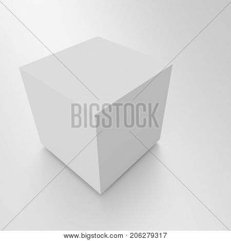 Abstract Cube Background. White Geometric Concept