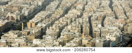 Aerial panorama of the old city of Dubai, with crowded buildings
