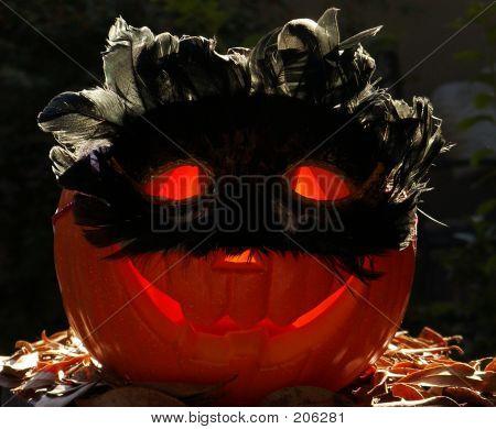 Glowing Pumpkin In Costume
