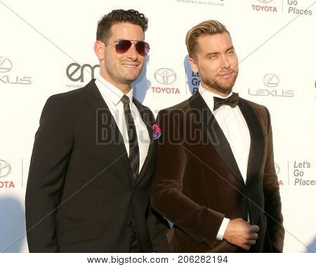 LOS ANGELES - SEP 23:  Michael Turchin, Lance Bass at the 27th Environmental Media Awards at the Barker Hangaer on September 23, 2017 in Santa Monica, CA