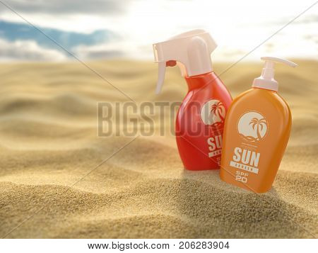 Sunscreen sprays and cream on a sea sand background. Products for sunburn. 3d illustration.