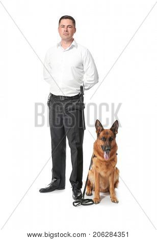 Security guard with dog on white background
