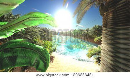 Great view on Sahara desert at sundown 3d rendering