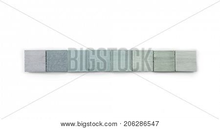 Neutral gray colored hand painted wooden blocks for, web site menu bar or cover. abstract background. Isolated on pure white.