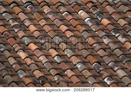 Old tiled roof close up - background