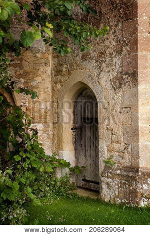 Backdoor of medieval 15th century Lacock Abbey