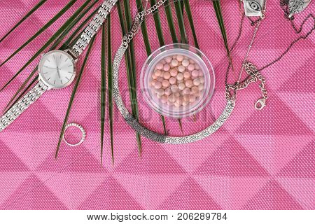 Composition with accessories and blusher on color background. Beauty blogger concept
