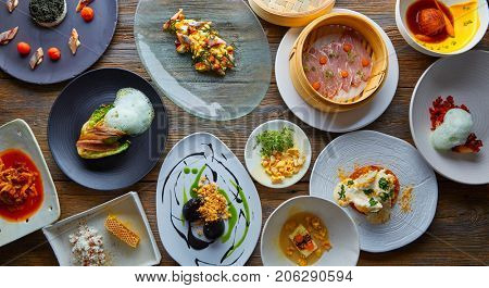 Molecular gastronomy variety of recipes Modern cuisine poster