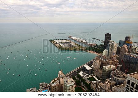 Aerial View of Chicago Downtown from 2017