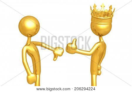 A Character Thumbs Down The King Thumbs Up Original 3D Characters Illustration