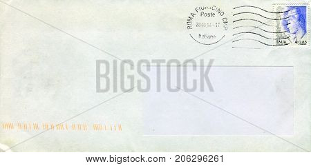 GOMEL, BELARUS - AUGUST 12, 2017: Old envelope which was dispatched from Italy to Gomel, Belarus, August 12, 2017.