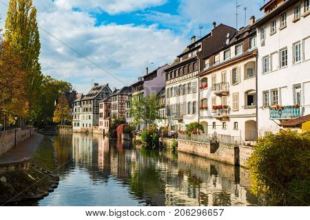 View of the canal in Petite France Area Strasbourg France