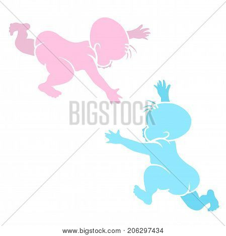 Stencil playing children. Vector pink and blue silhouettes of two newborn babies.