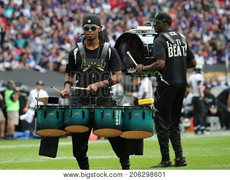 LONDON, ENGLAND - SEPTEMBER 24: A drummer performs during the NFL match between The Jacksonville Jaguars and The Baltimore Ravens at Wembley Stadium on September 24, 2017 in London, United Kingdom