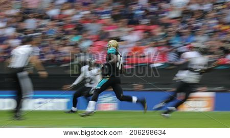 LONDON, ENGLAND - SEPTEMBER 24: Marqise Lee wide receiver for Jacksonville Jaguars on a decoy run during the NFL match between The Jacksonville Jaguars and The Baltimore Ravens