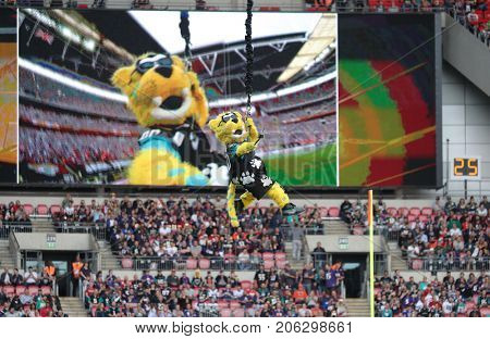 LONDON, ENGLAND - SEPTEMBER 24: Jacksonville Jaguars Mascot Jaxson De Ville enters the arena for the NFL match between The Jacksonville Jaguars and The Baltimore Ravens at Wembley Stadium