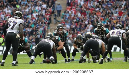 LONDON, ENGLAND - SEPTEMBER 24: Blake Bortles quarterback for Jacksonville Jaguars calls the play during the NFL match between The Jacksonville Jaguars and The Baltimore Ravens